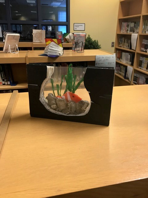 book art fish tank